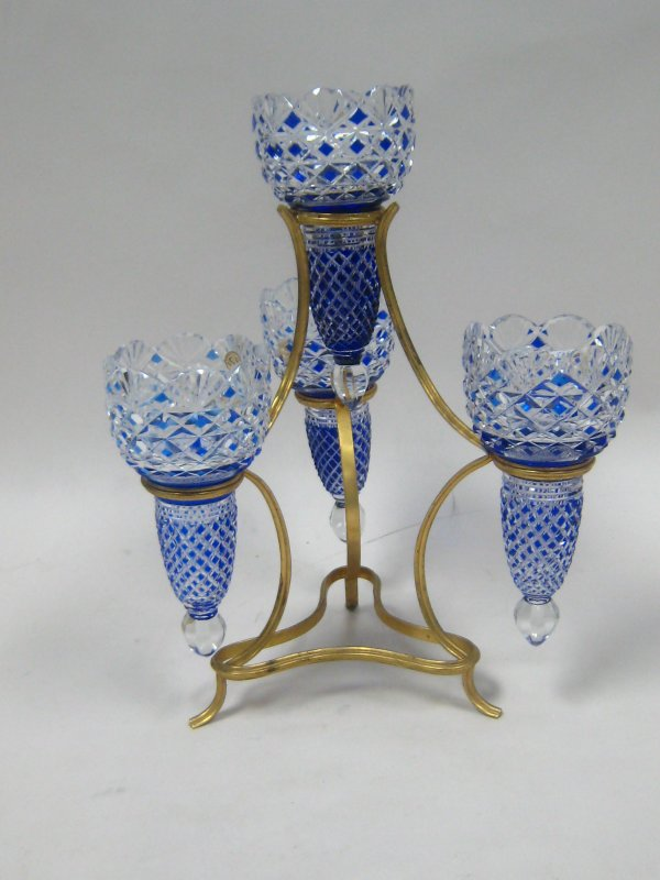 Blue and clear baccarat epergne.